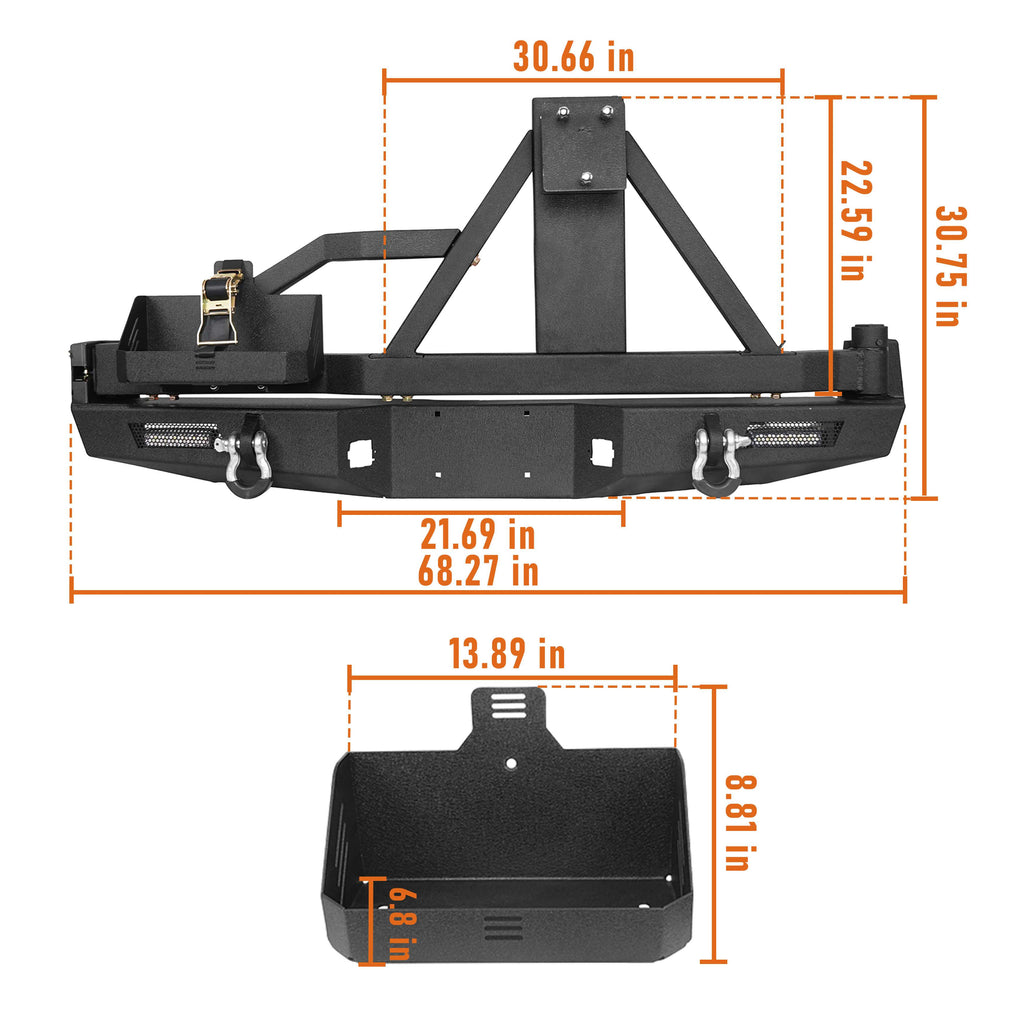 Full Width Front Bumper & Rear Bumper w/Swing Out Tire Carrier(05-15 Toyota Tacoma Gen 2)