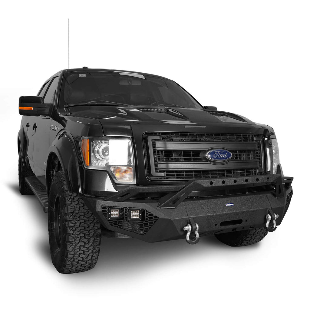Full-Width Front Bumper w/Grill Guard & Back Bumper Rear Bumper(09-14 Ford F-150, Excluding Raptor)