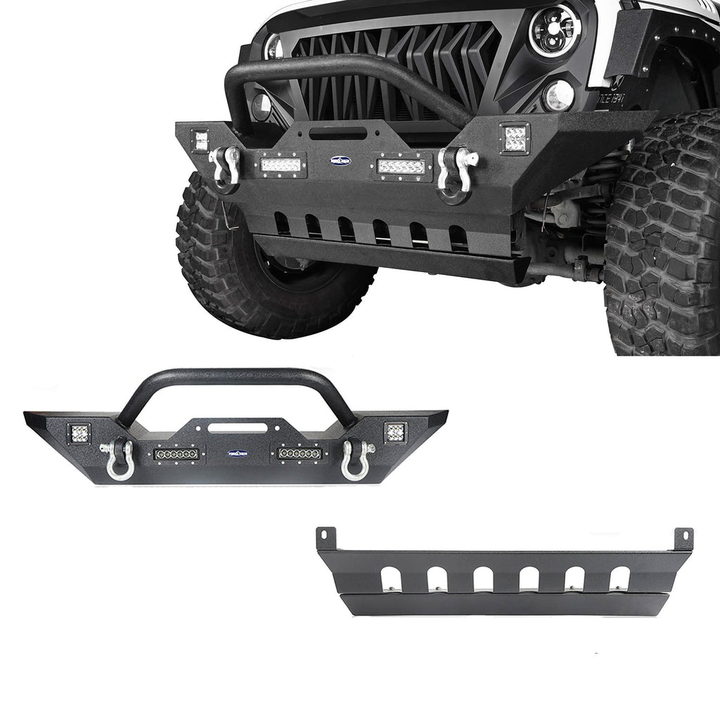 Jeep JK Mid Width Front Bumper with Winch Plate Front Skid Plate for Jeep Wrangler JK 2007-2018 BXG143BXG204 Jeep Accessories u-Box offroad 1
