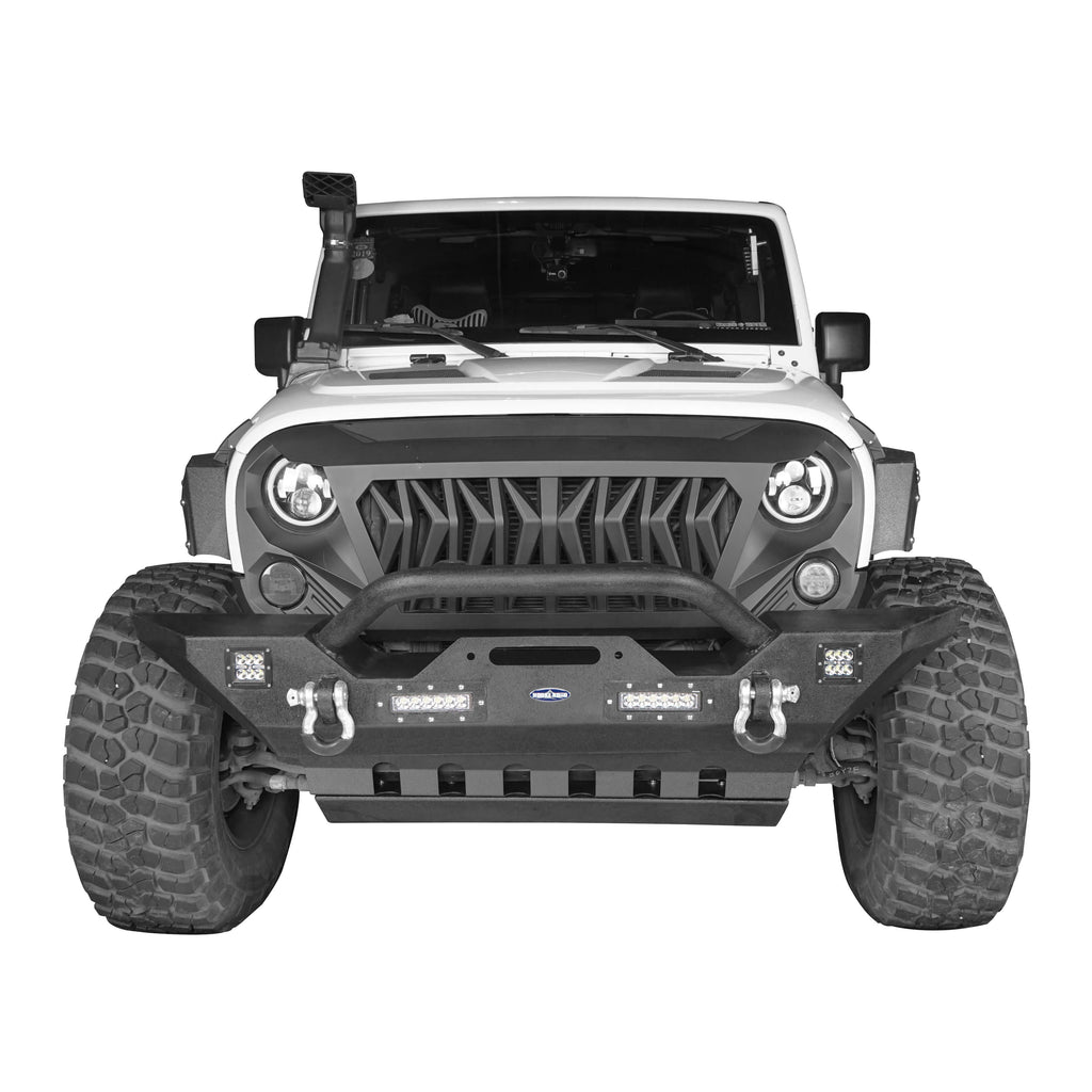 Jeep JK Mid Width Front Bumper with Winch Plate Front Skid Plate for Jeep Wrangler JK 2007-2018 BXG143BXG204 Jeep Accessories u-Box offroad 3