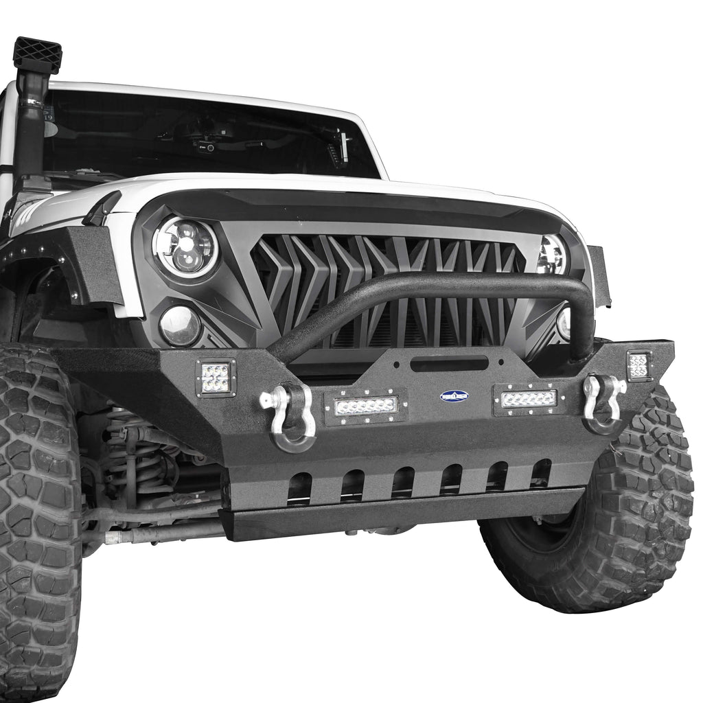 Jeep JK Mid Width Front Bumper with Winch Plate Front Skid Plate for Jeep Wrangler JK 2007-2018 BXG143BXG204 Jeep Accessories u-Box offroad 6