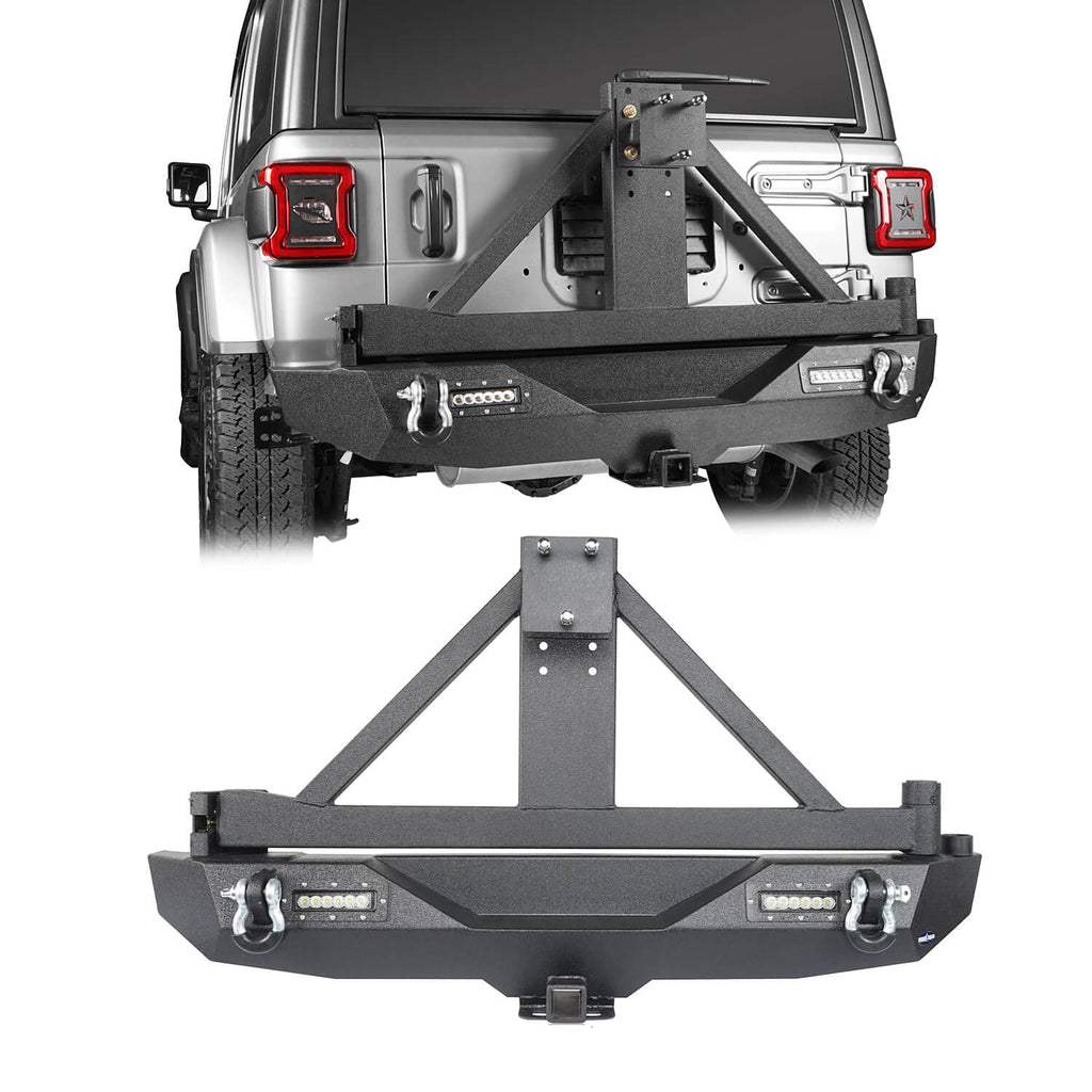 JL Rear Bumper w/Tire Carrier & LED Floodlights(18-20 Jeep Wrangler JL)