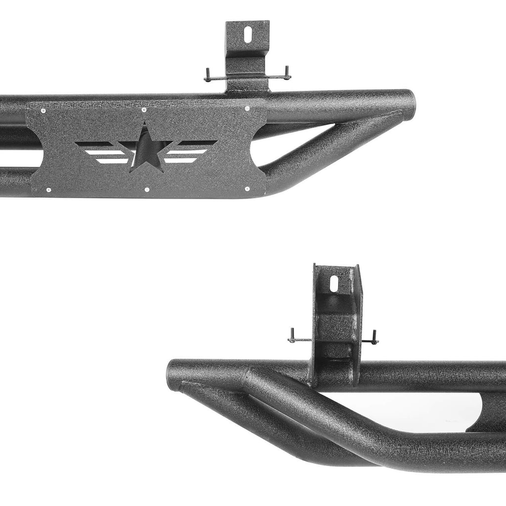 Tube Side Steps w/Delicate Hollowed-Out Star LOGO(18-20 Jeep Wrangler JL 4 Doors)