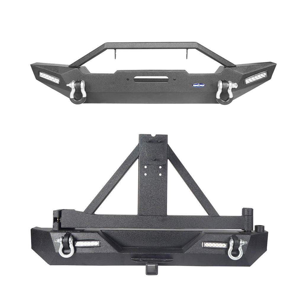 Jeep TJ Front and Rear Bumper Combo with Tire Carrier Blade Master Front Bumper and Explorer Rear Bumper for Jeep Wrangler YJ TJ 1987-2006 BXG130145 Jeep TJ Front and Rear Bumper Combo u-Box Offroad 2
