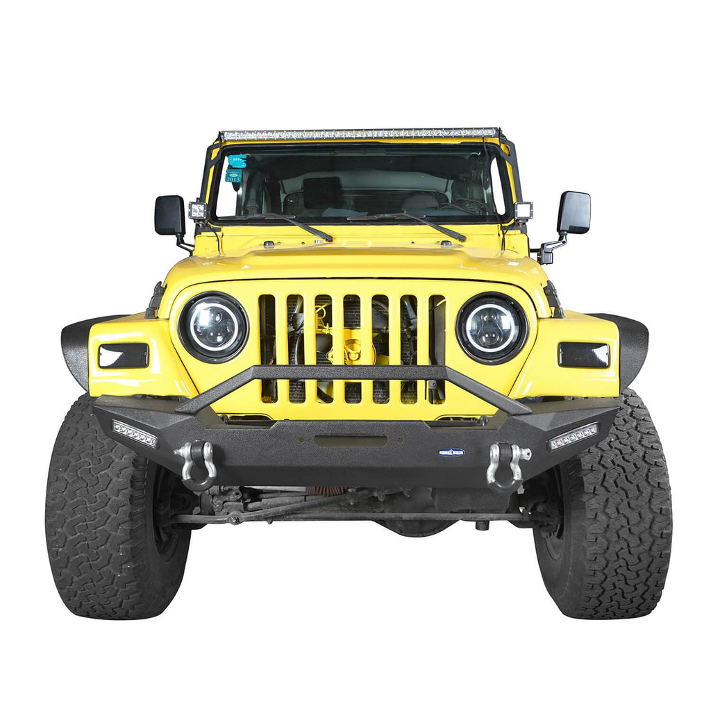 Jeep TJ Front and Rear Bumper Combo with Tire Carrier Blade Master Front Bumper and Explorer Rear Bumper for Jeep Wrangler YJ TJ 1987-2006 BXG130145 Jeep TJ Front and Rear Bumper Combo u-Box Offroad 4