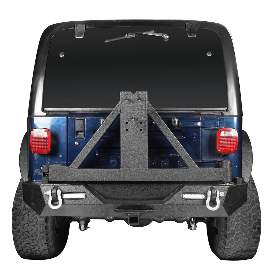 Jeep TJ Front and Rear Bumper Combo with Tire Carrier Blade Master Front Bumper and Explorer Rear Bumper for Jeep Wrangler YJ TJ 1987-2006 BXG130145 Jeep TJ Front and Rear Bumper Combo u-Box Offroad 8