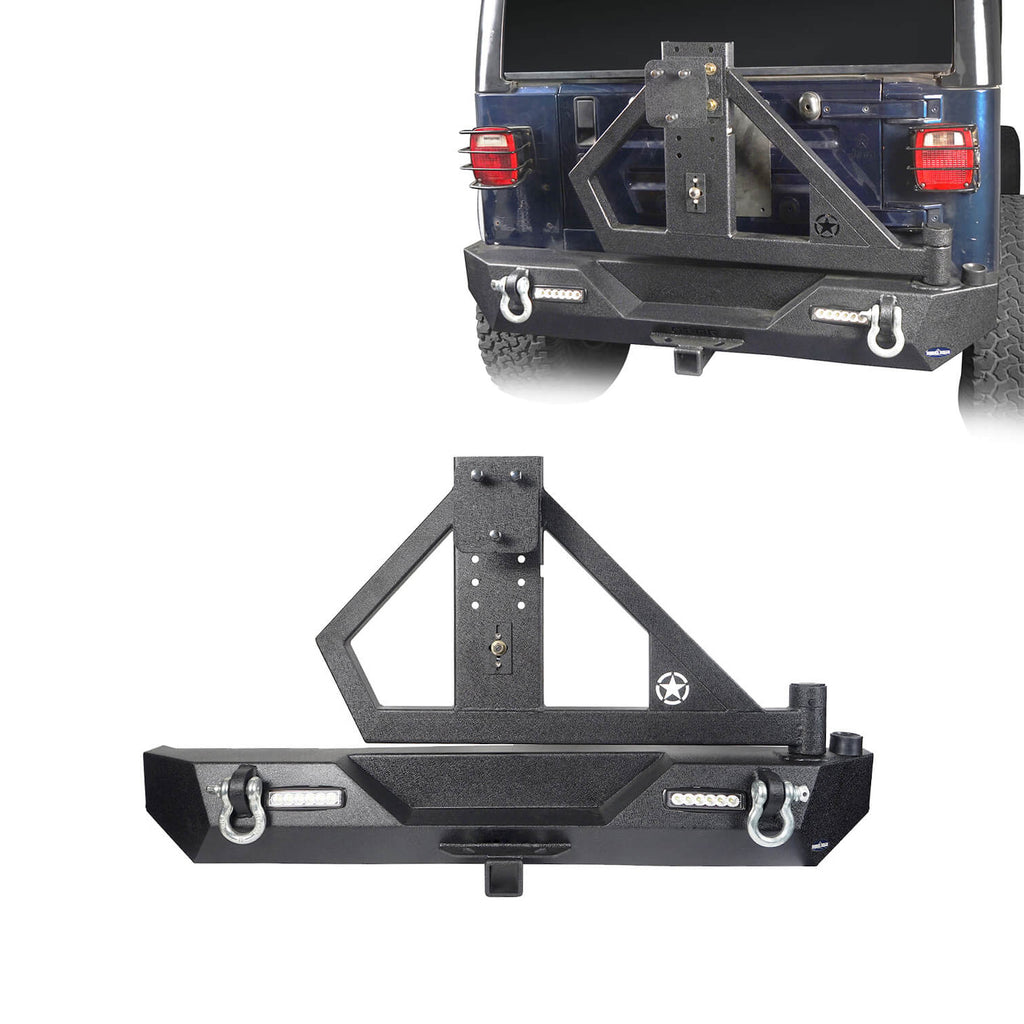 SINGLE ACTION Rear Bumper w/Tire Carrier & Receiver Hitch(97-06 Jeep Wrangler TJ)