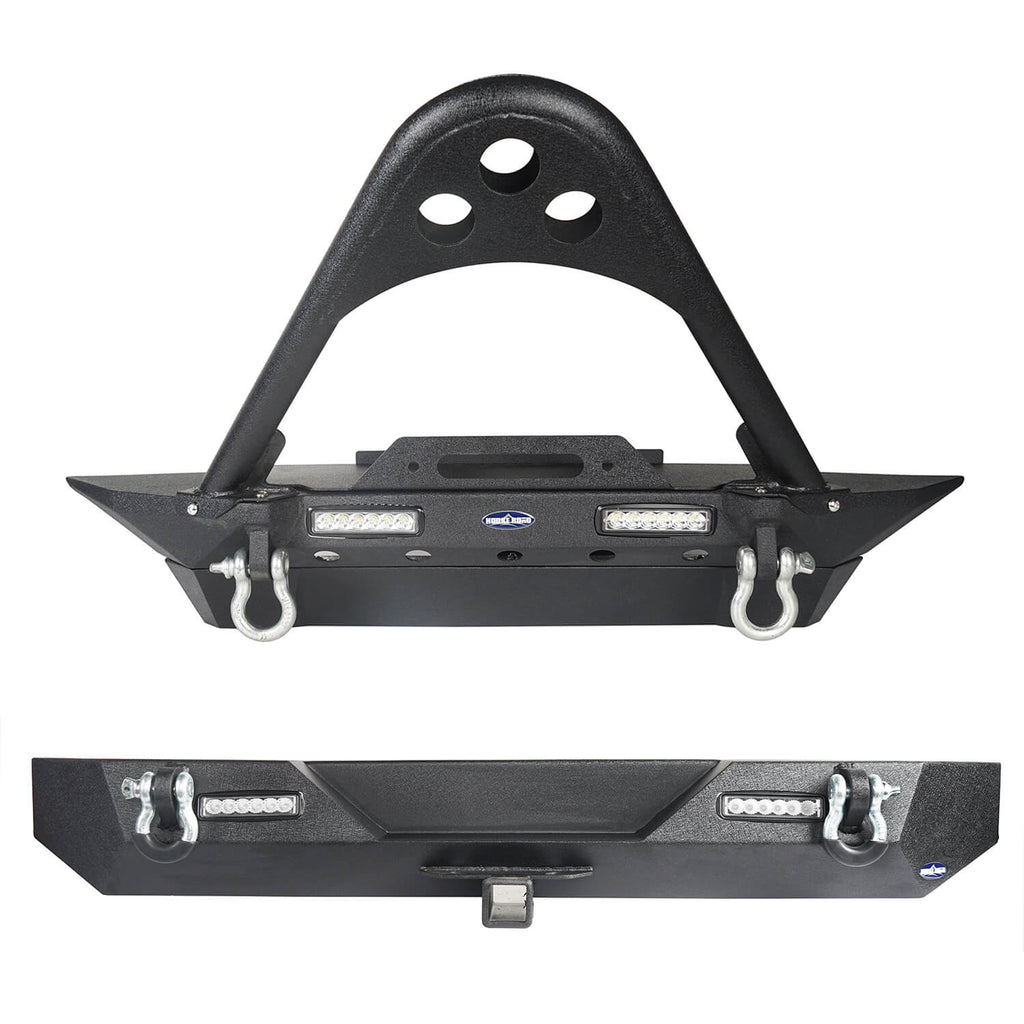 Jeep TJ Stinger Front Bumper and Different Trail Rear Bumper Combo for Jeep Wrangler TJ YJ 1987-2006 BXG152120 Jeep TJ Front and Rear Bumper Combo u-Box Offroad 2