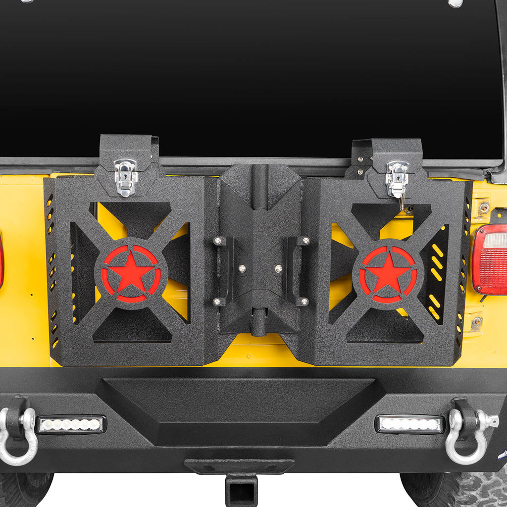 Double Jerry Gas Can Holder Tailgate Mount(97-06 Jeep Wrangler TJ)