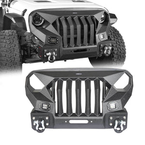 Mad Max Front Bumper w/Steel Grille Guard &  Winch plate(07-18 Jeep Wrangler JK)