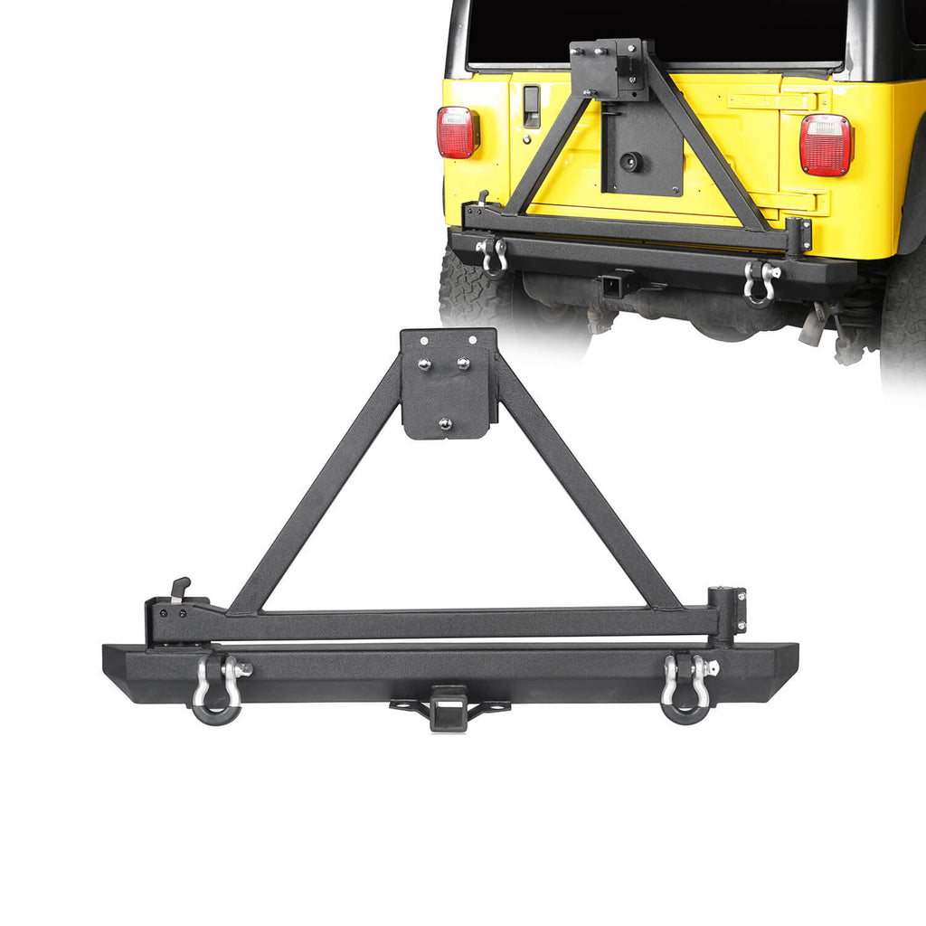 Jeep TJ Matte Black Rear Bumper w/ Tire Carrier & Hitch Receiver(97-06 Jeep Wrangler TJ)