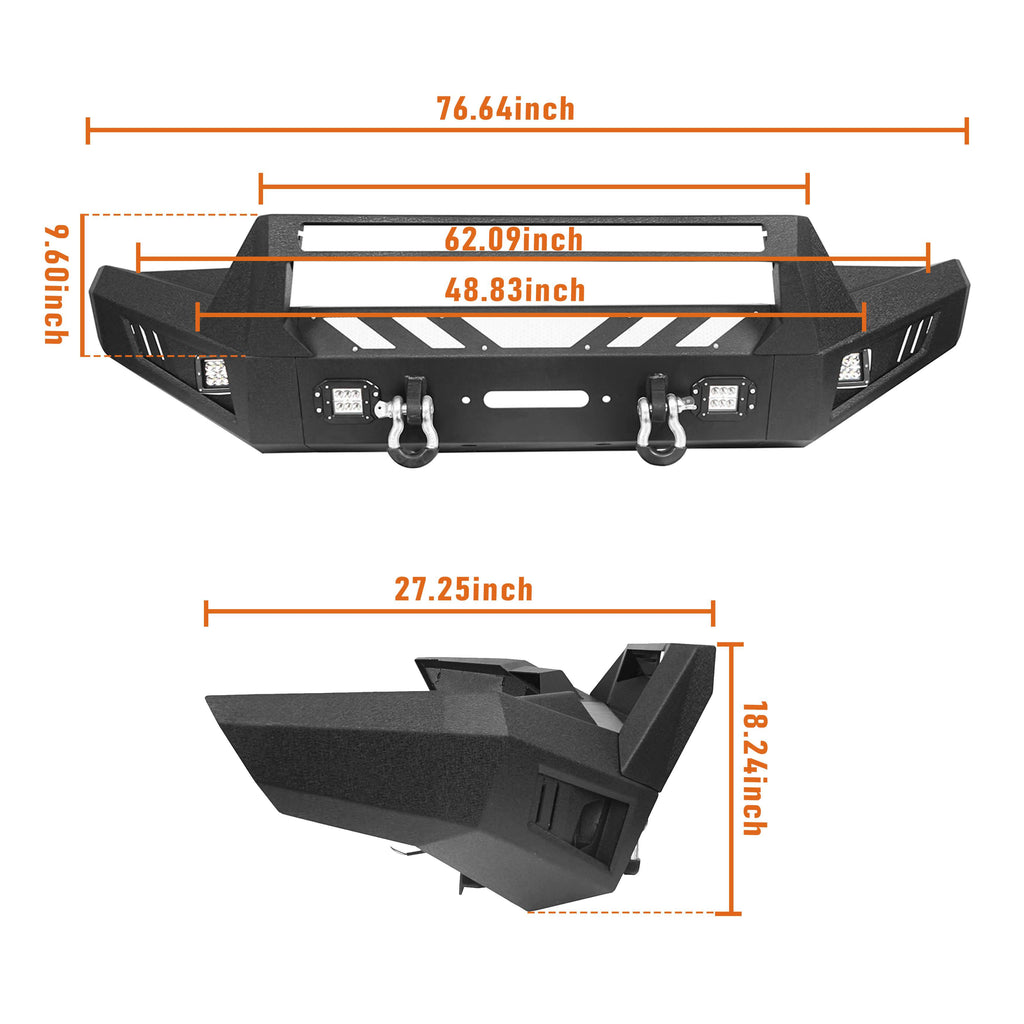 Toyota Tacoma Front Bumper and Rear Bumpers Combo for 2016-2020 Toyota Tacoma 3rd Gen u-Box Offroad BXG42014200 16
