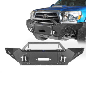 Full Width Front Bumper w/Winch Plate & LED Spotlights(05-15 Toyota Tacoma Gen 2)