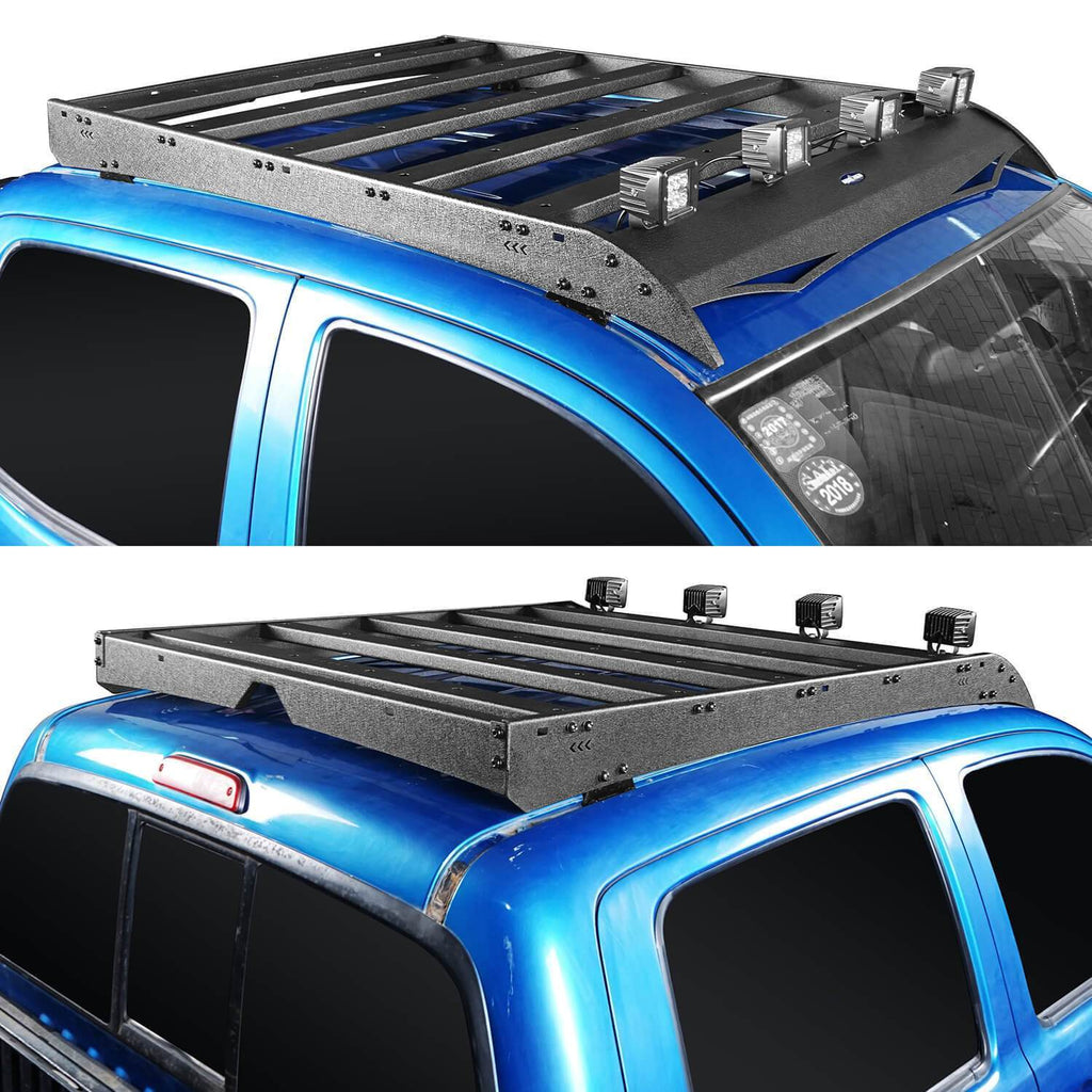 Roof Rack w/LED Lights Support Shark Fin Antenna(05-20 Toyota Tacoma Double Cab Gen 2/3)