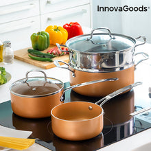 Load image into Gallery viewer, InnovaGoods Copper-Effect Pot Set & Steamer (6 Pieces)
