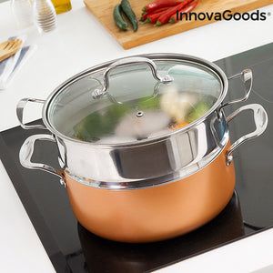 InnovaGoods Copper-Effect Pot Set & Steamer (6 Pieces)