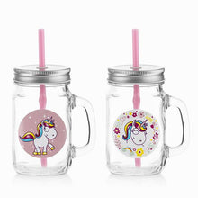 Load image into Gallery viewer, Junior Knows Unicorn Mini Mason Jar Mugs (Set of 2)  BigBuy Cooking animals, Brand_BigBuy Cooking, breakfast, category-reference-2403, category-reference-2449, category-reference-2462, category-reference-2571, category-reference-2593, category-reference-2596, category-reference-2662, category-reference-2669, category-reference-2683, drinks, fashion, fiesta, for the little ones, milkshakes and juices, Price_10 - 20, vintage / retro LotSupplies Marketplace