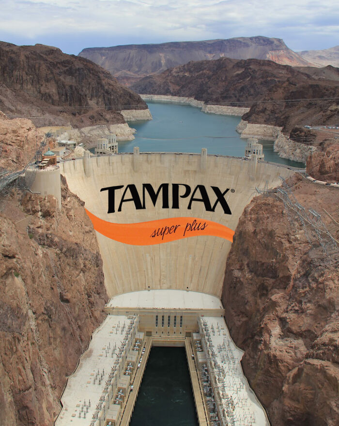Tampax logo on the Hoover Dam