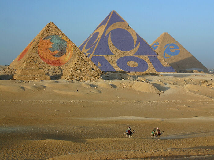Internet browser logos on the Pyramids