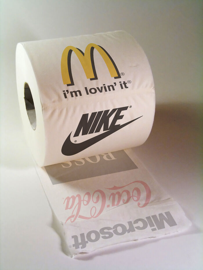 A variety of logos on a roll of toilet paper