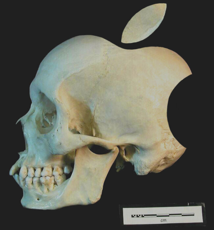 Apple logo incorporated into a picture of a skull