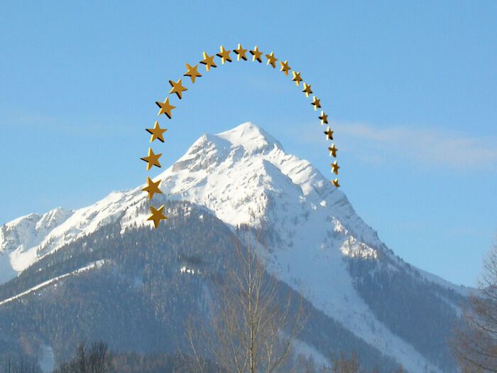 Paramount Pictures logo over a real mountain