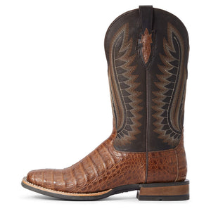 Ariat Men's Double Down Caramel Caiman Belly/Vaviar Black Boot
