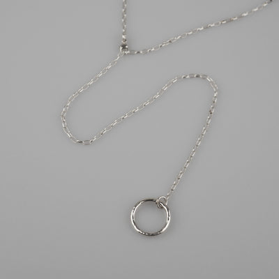 "Silver Necklace ""Long Chain Ring"" シルバー ネックレス-ネックレス-yuzen-official"