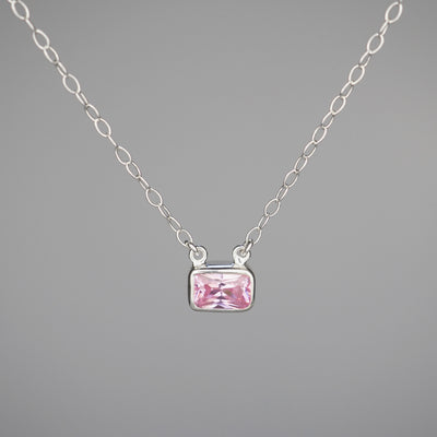 "Silver Necklace ""Emma 002"" ピンクトルマリン シルバー ネックレス-ネックレス-yuzen-official"