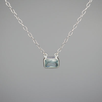 "Silver Necklace ""Emma 004"" サファイア シルバー ネックレス-ネックレス-yuzen-official"