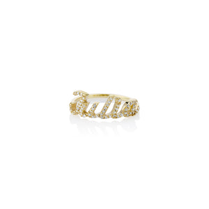 Pave Script Name Ring - essentialsjewels.com