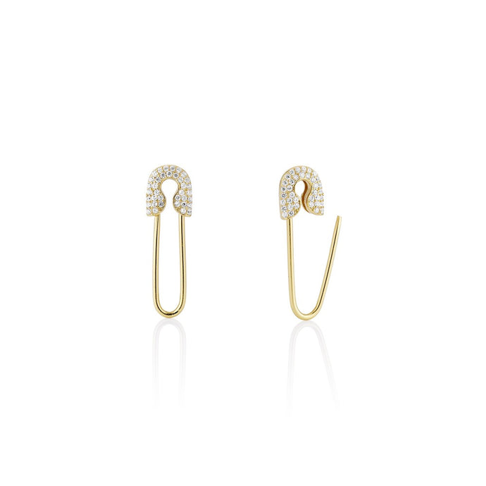 Solid X Pave Safety Pin Earring - essentialsjewels.com