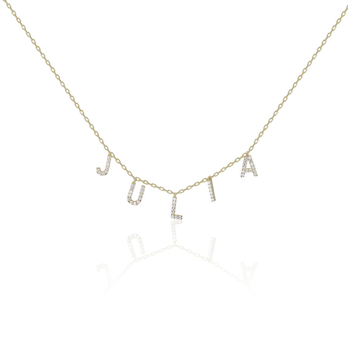 Pave Dangling Name Necklace - essentialsjewels.com