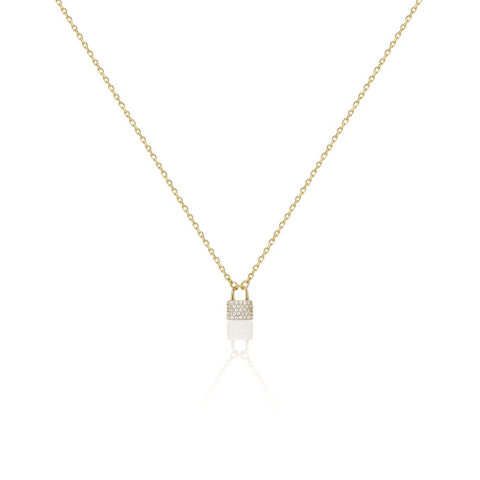 Cz Mini Lock Necklace - essentialsjewels.com