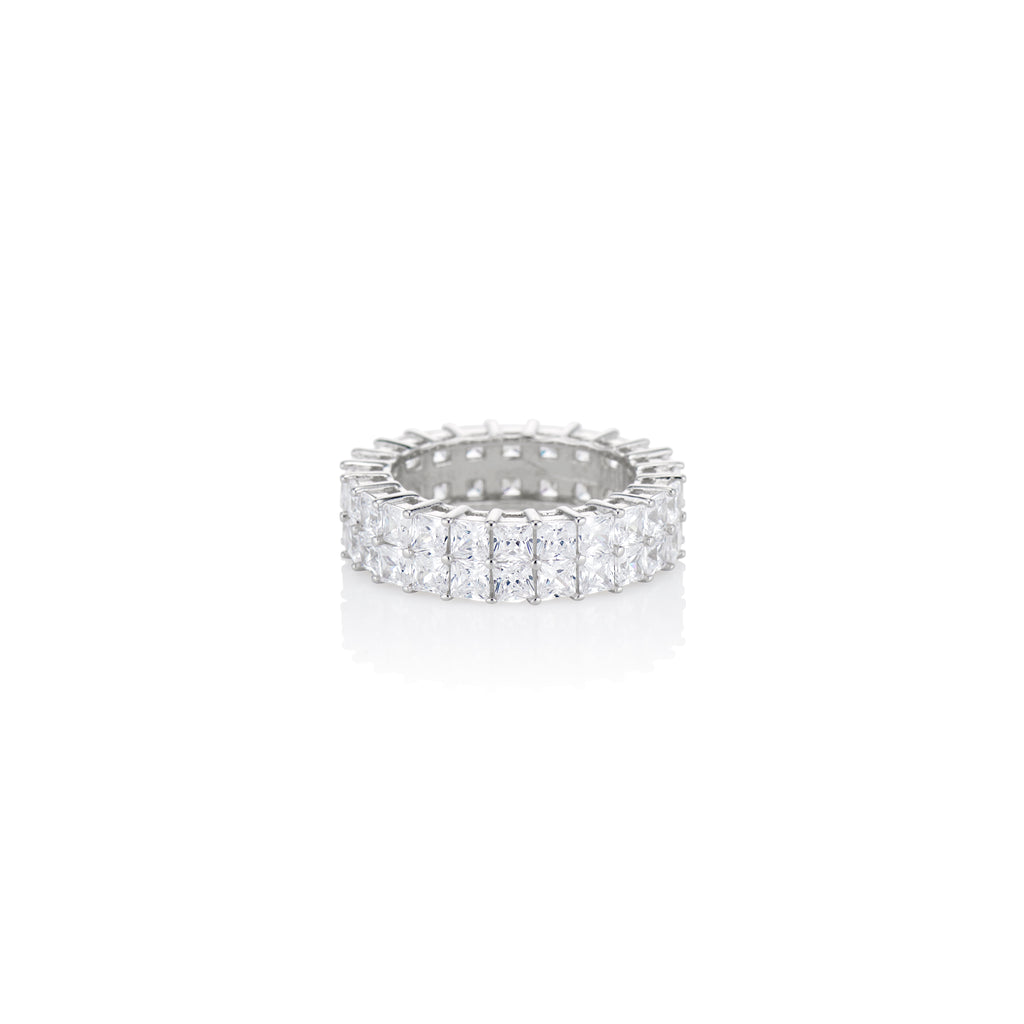 Double Row Princess Cut Band - essentialsjewels.com