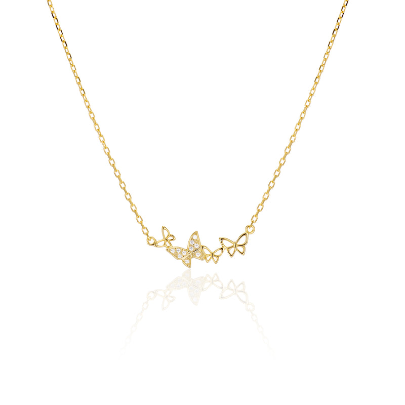 Solid X Pave Butterfly Necklace - essentialsjewels.com