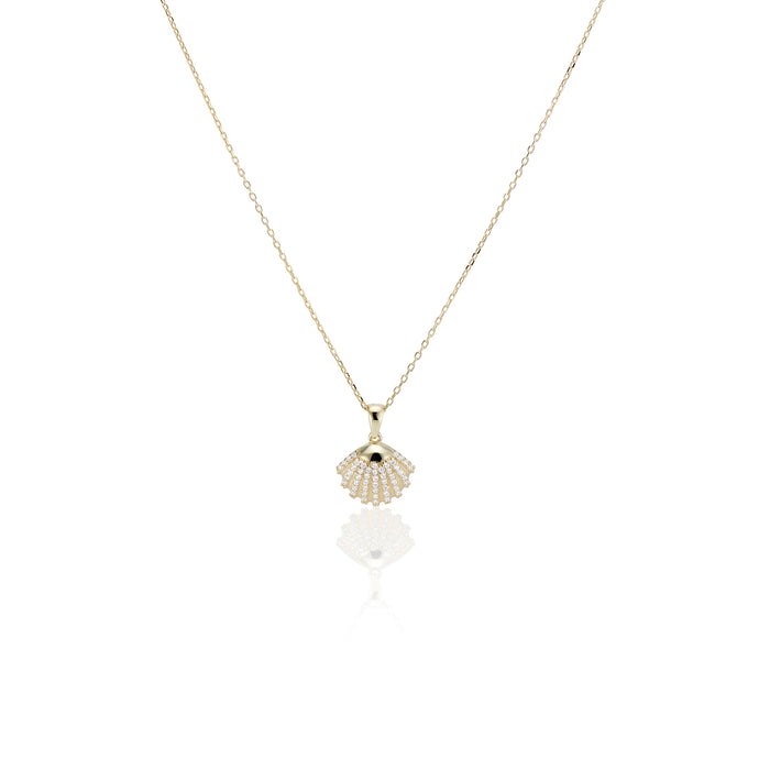 Pave Shell Necklace - essentialsjewels.com