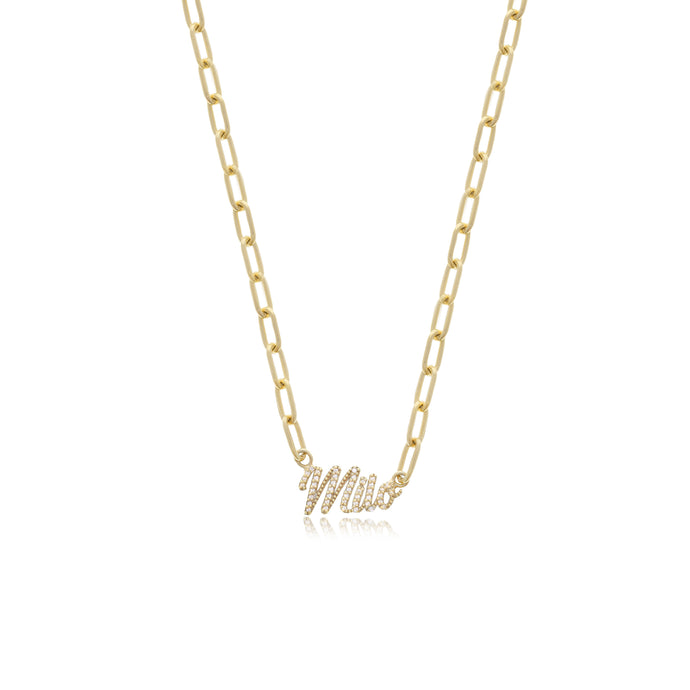 Pave Nameplate Link Necklace - essentialsjewels.com