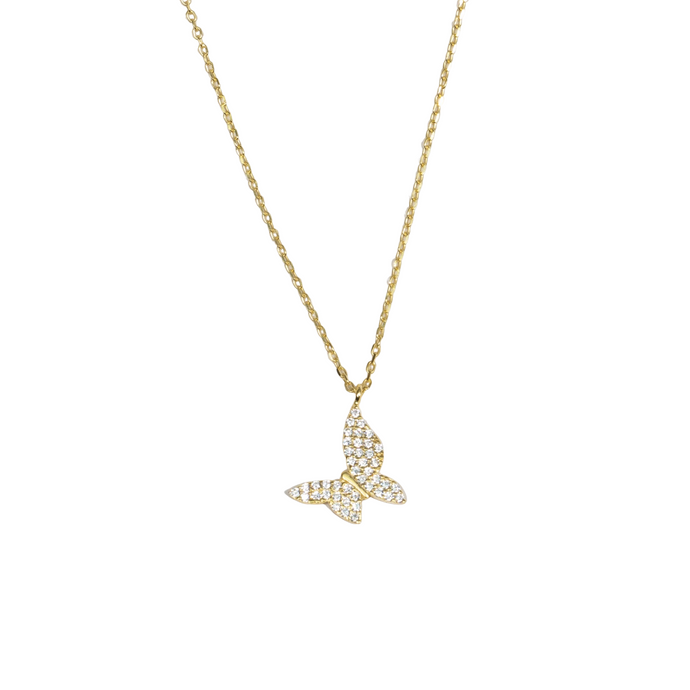 Pave Butterfly Necklace - essentialsjewels.com
