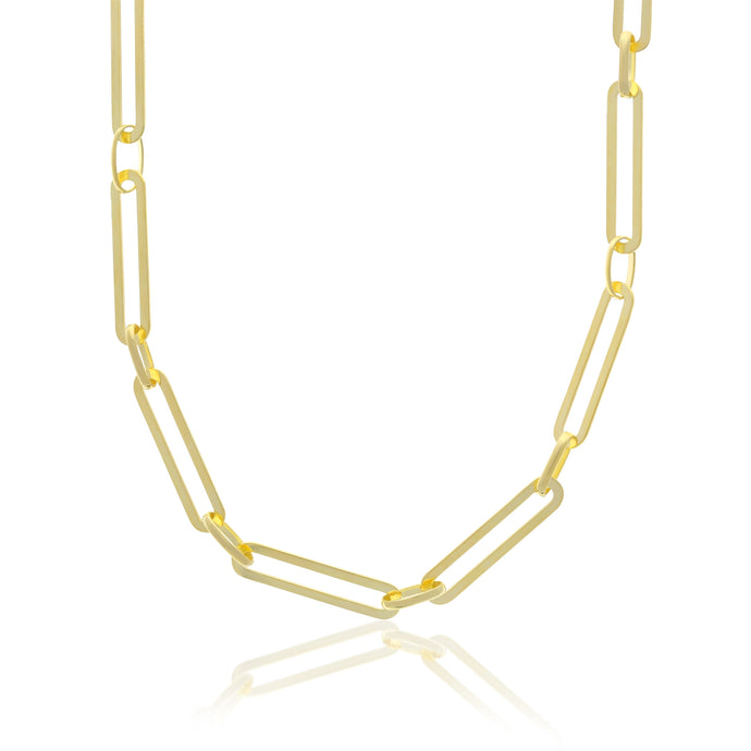 Paperclip X Round Chain Necklace - essentialsjewels.com
