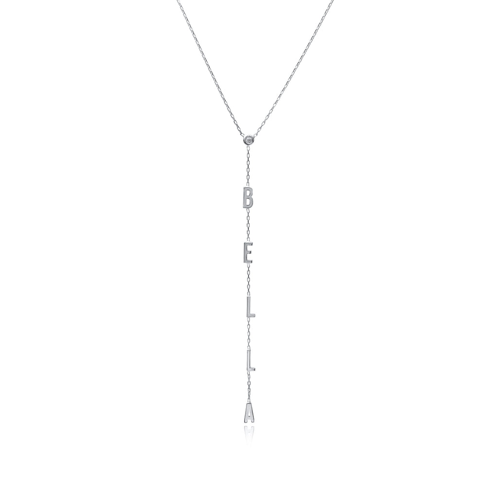 Bezel Drop Name Necklace - essentialsjewels.com
