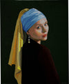 "'Emelie', (tribute to Vermeer) Thread onto canvas, 30""X 35,"" framed."