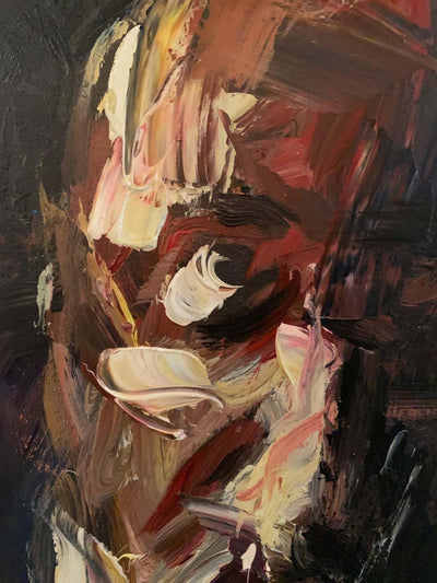 "'Self-Portrait on a dark background', Oil on canvas, 39.5""X27.5"", 2020"