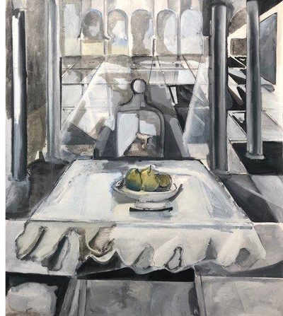 'Dinner Is Served', oil on canvas, 6ft. x 6ft