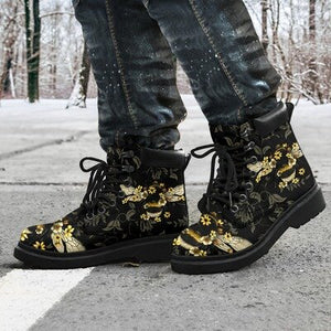 Retro Lace-Up Queen Bee&Floral Printed Martin Boots