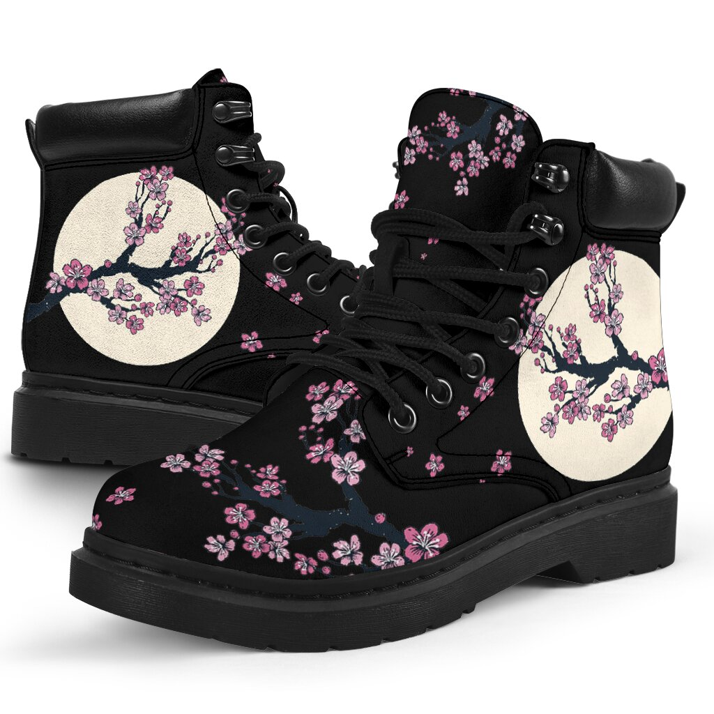 Plum Flower Printed All Season Boots