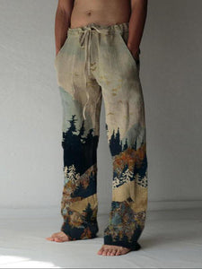 Linen Straight Pants Long Pants