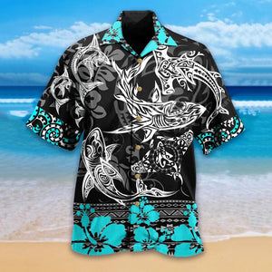 Fashion shark print men's loose shirt