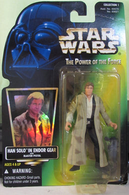 StarWars POTF Green Card - Han Solo In Endor Gear  - with Hologram Sticker