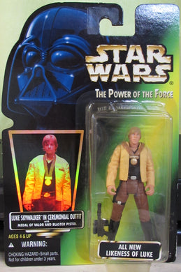 StarWars POTF Green Card - Luke in Ceremonial Outfit - With Hologram Sticker